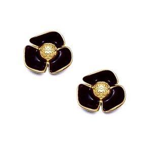 Tory Burch Black Fleur Flower Earrings